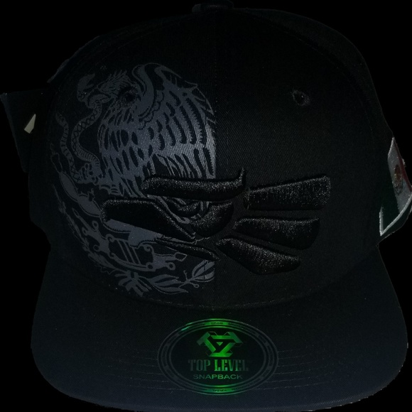 2b02f392ecfa6 top level Accessories   Mexico Flag With Eagle Black Snapback Hat ...